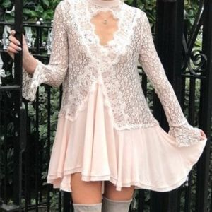 FREE PEOPLE Light Pink and White Lace Tunic NWT (: